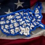 American map covered in pills